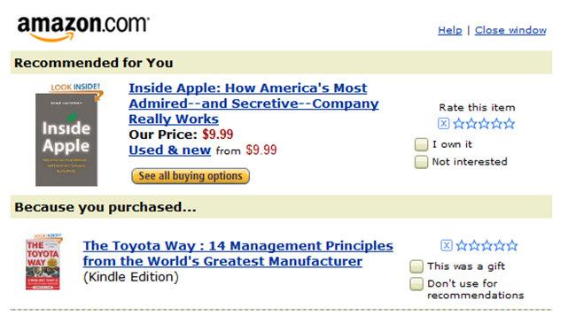 Sistema de recomendação da Amazon