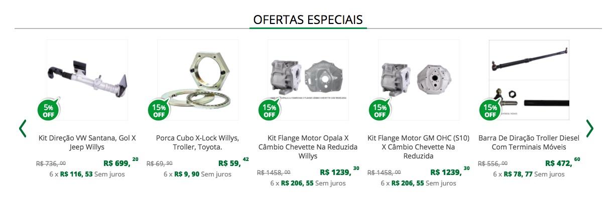 Recomendação ofertas especiais