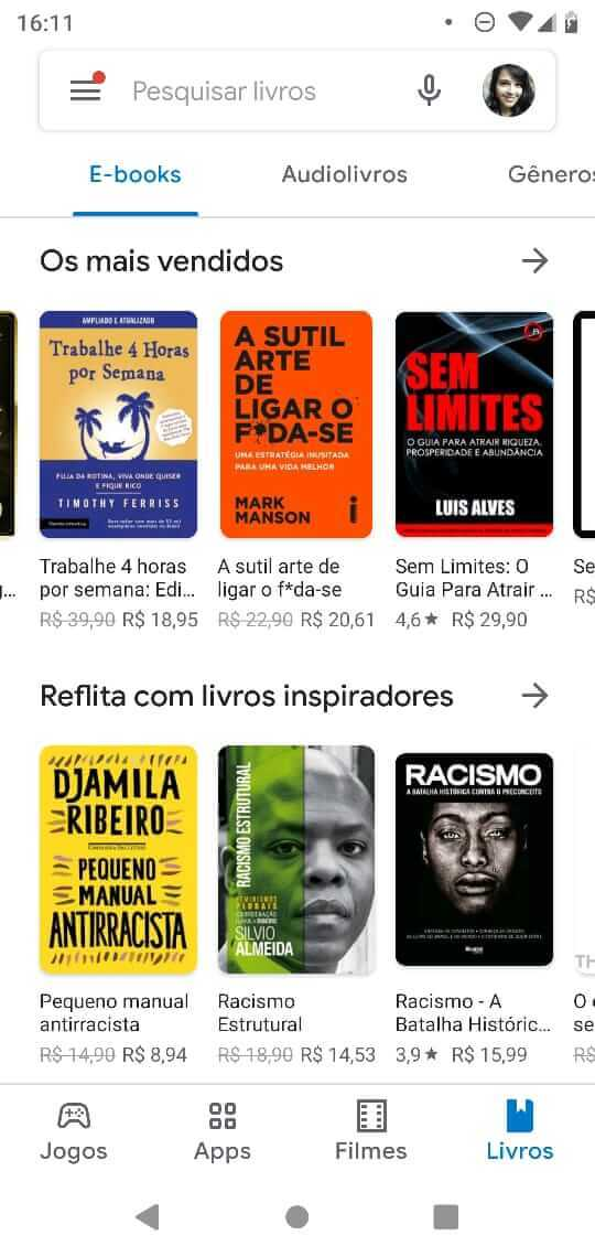 Recomendación de libros electrónicos de Play Store