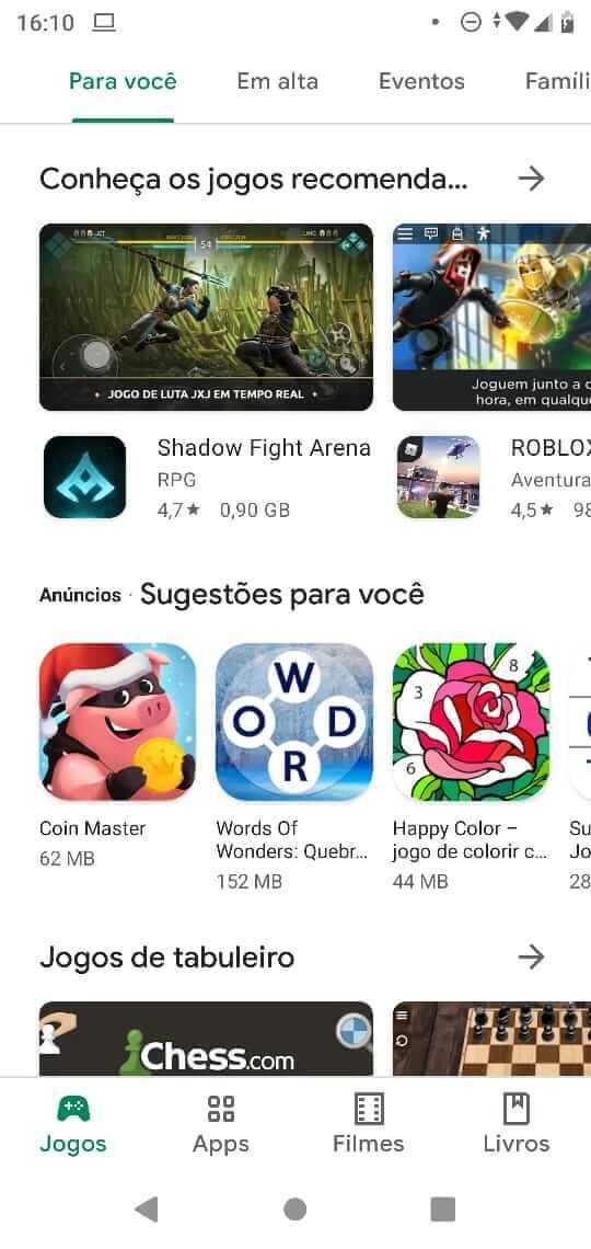 Recomendação Play Store jogos