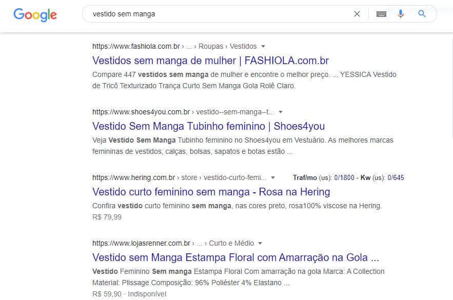 resultado de busca - vestido sem manga - google bert